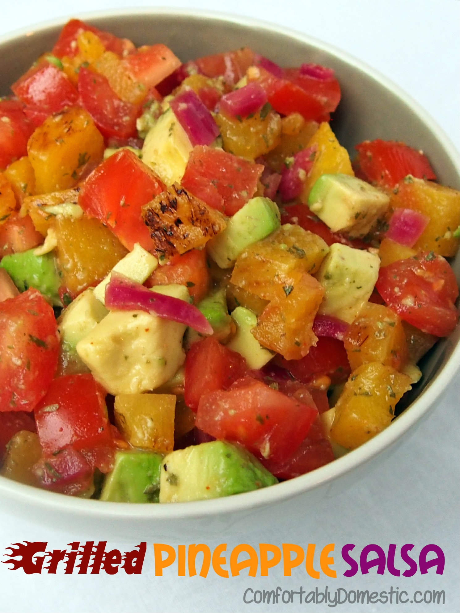 Comfortably Domestic's Grilled Pineapple Avocado Salsa | grilling | salsa |
