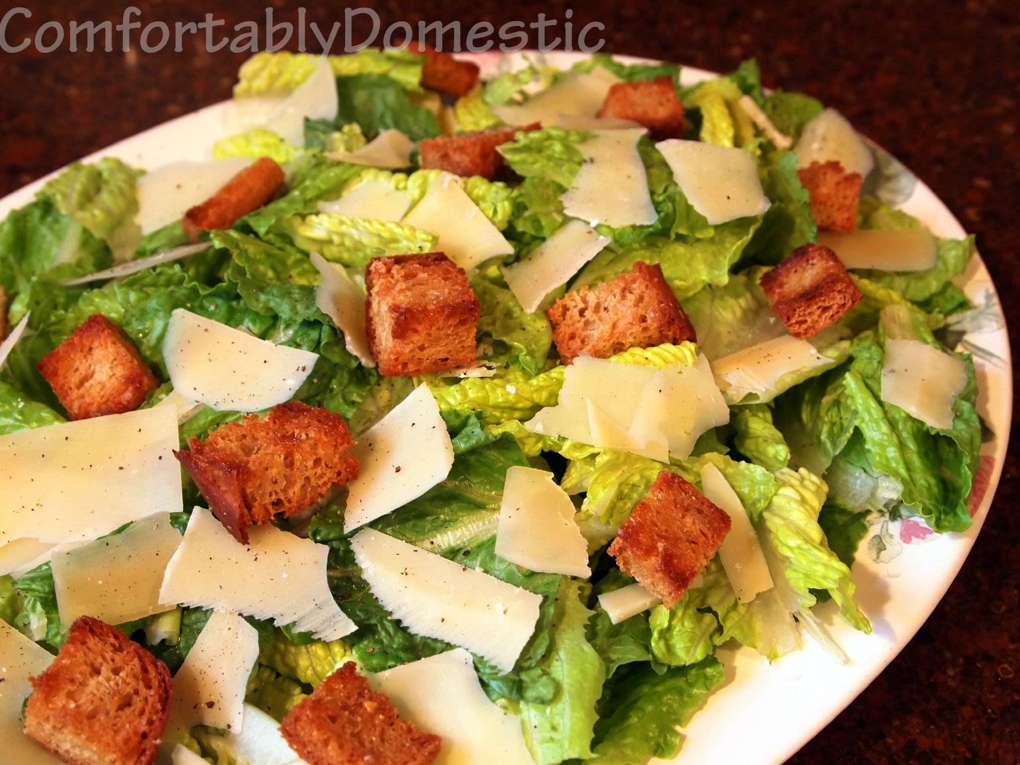 Simple Caesar Salad with Egg-Free Caesar Dressing - Comfortably ...