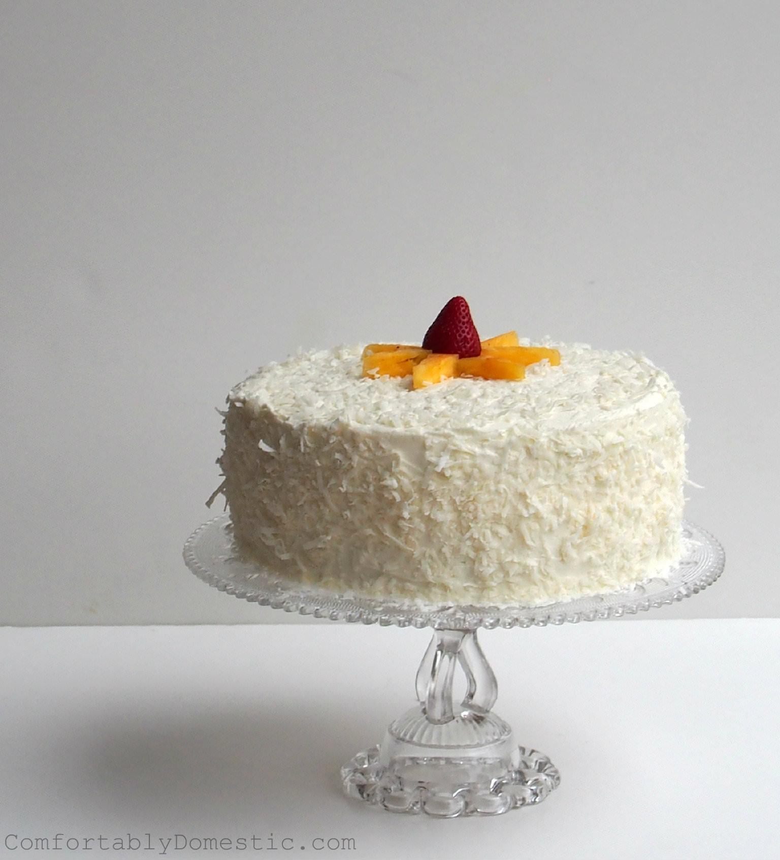Strawberry Colada Cake with Coconut Buttercream | ComfortablyDomestic.com