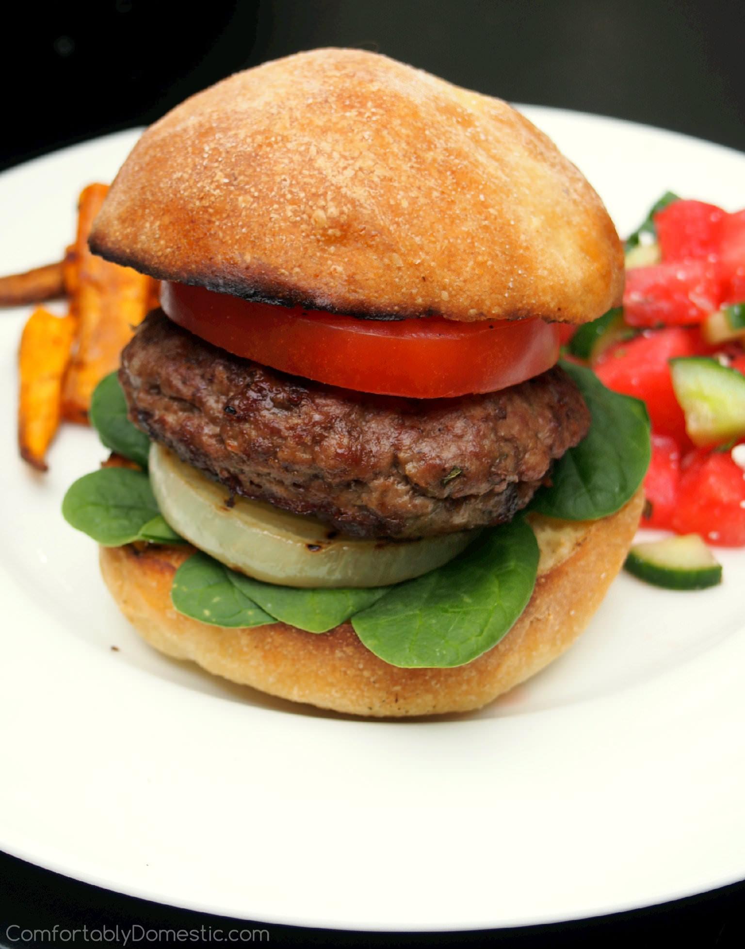 Feta Stuffed Lamb Burgers with Grilled Sweet Onion Steaks ...