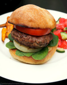 Feta Stuffed Lamb Burgers with Grilled Sweet Onion Steaks