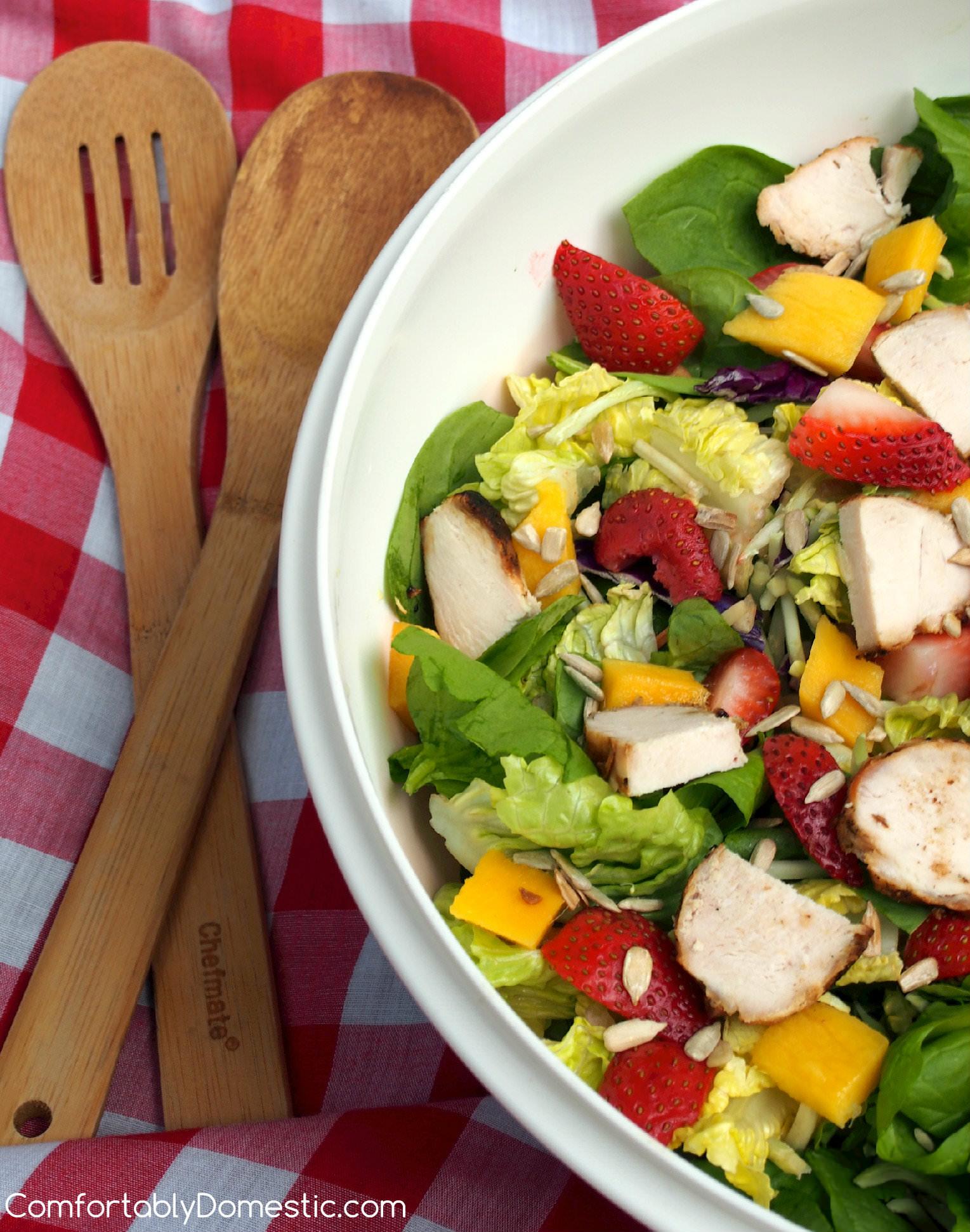 Summer Strawberry Mango Salad with Strawberry Poppyseed Vinaigrette | ComfortablyDomestic.com