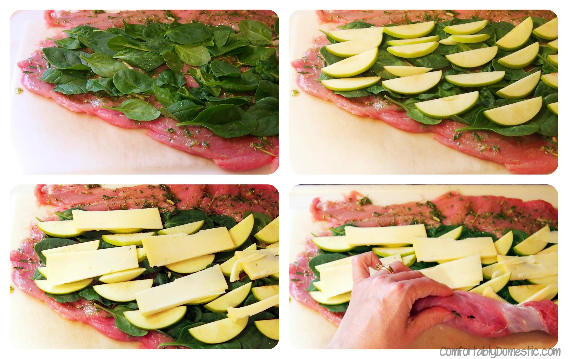 Stuffed Pork with Rosemary Pesto, Spinach, Apple, and Gouda   ComfortablyDomestic.com