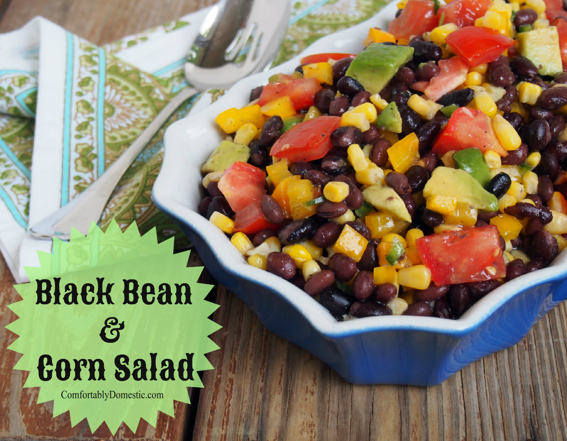 Corn salad with black beans, corn, avocado, tomatoes, and both sweet ...