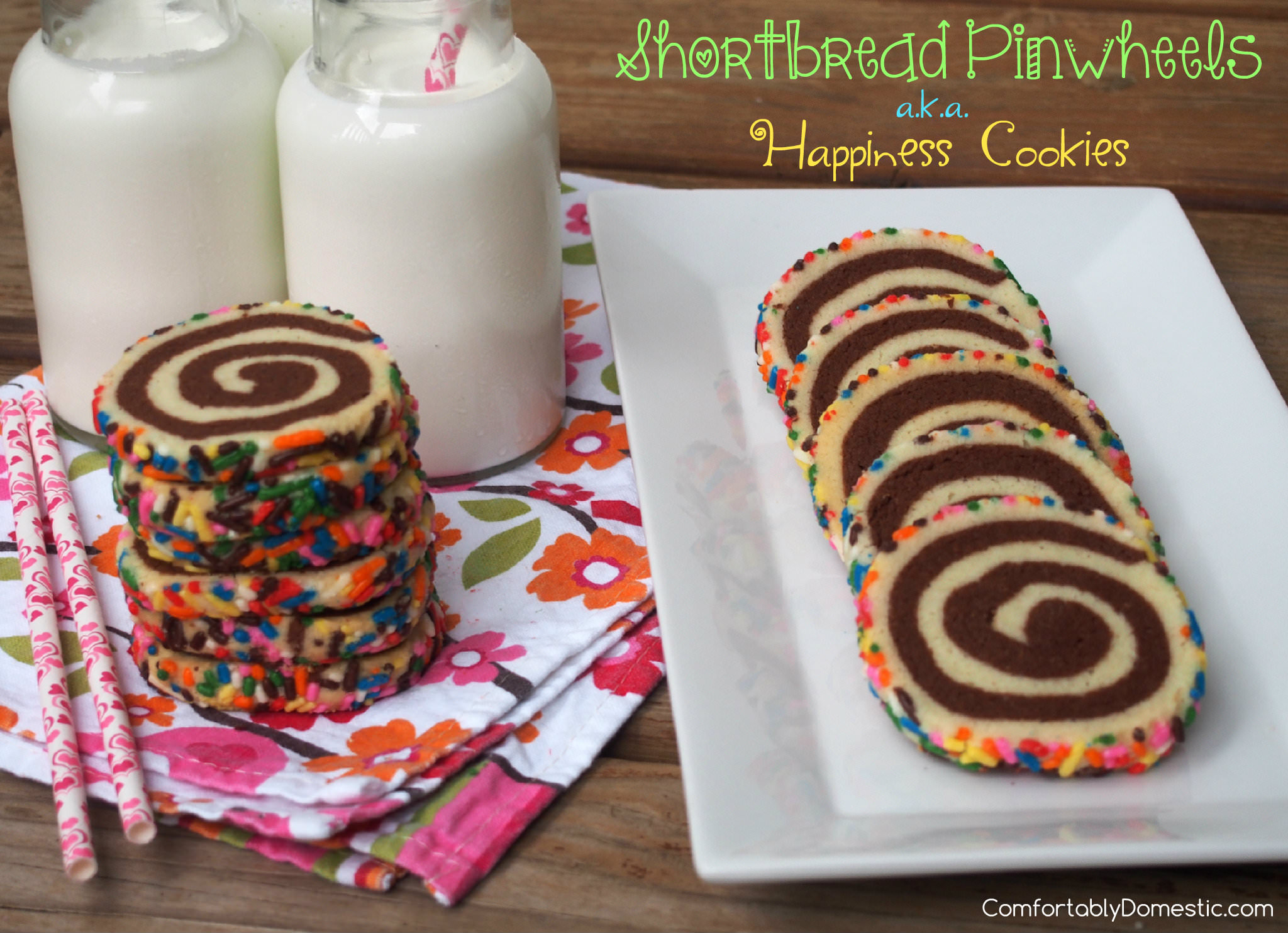 Shortbread pinwheels are buttery vanilla and chocolate shortbread cookies presented in a fun pinwheel design, with colorful sprinkles for an added touch of whimsy. | ComfortablyDomestic.com, a.k.a. Happiness Cookies