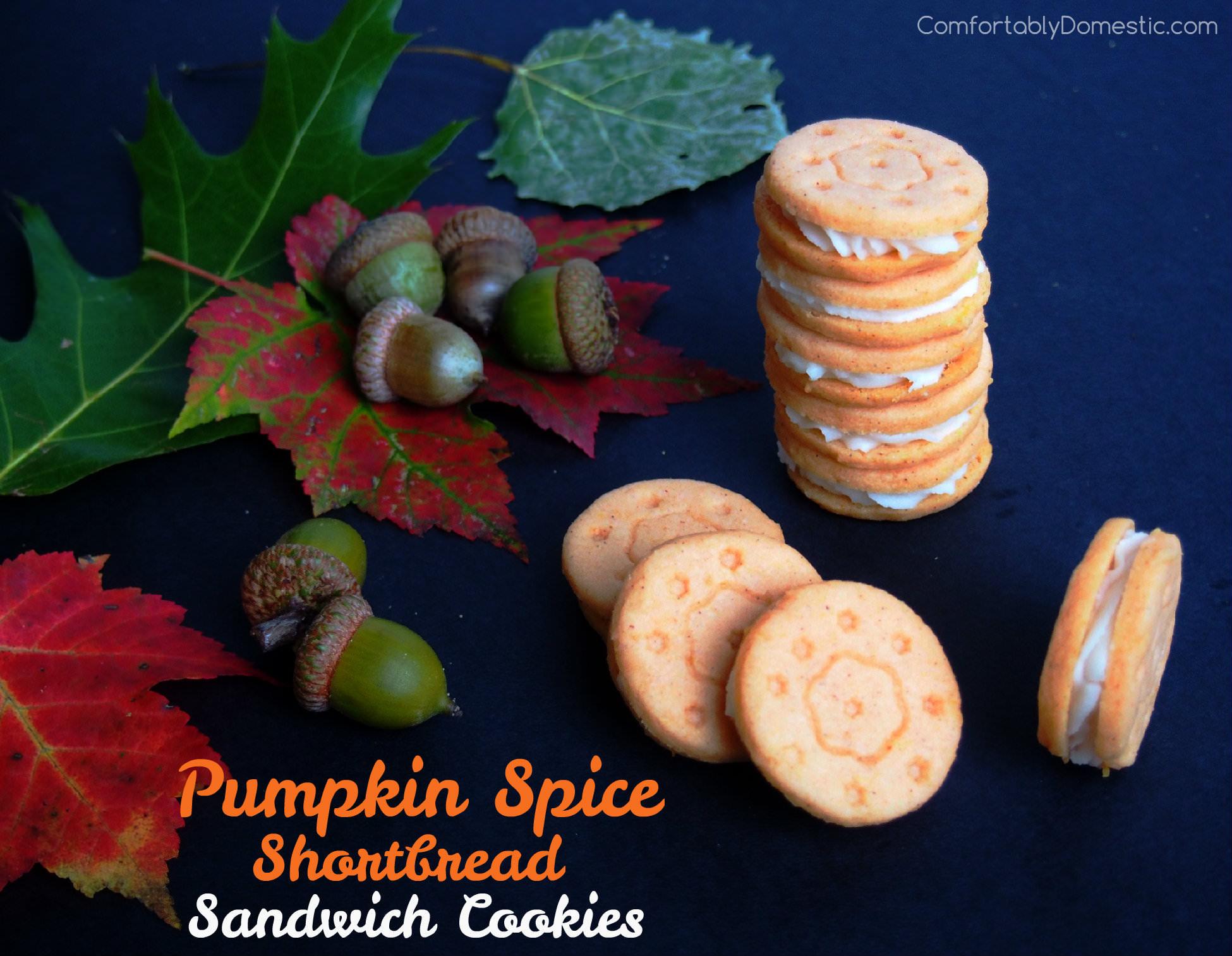 Pumpkin Spice Shortbread Sandwich Cookies | ComfortablyDomestic.com