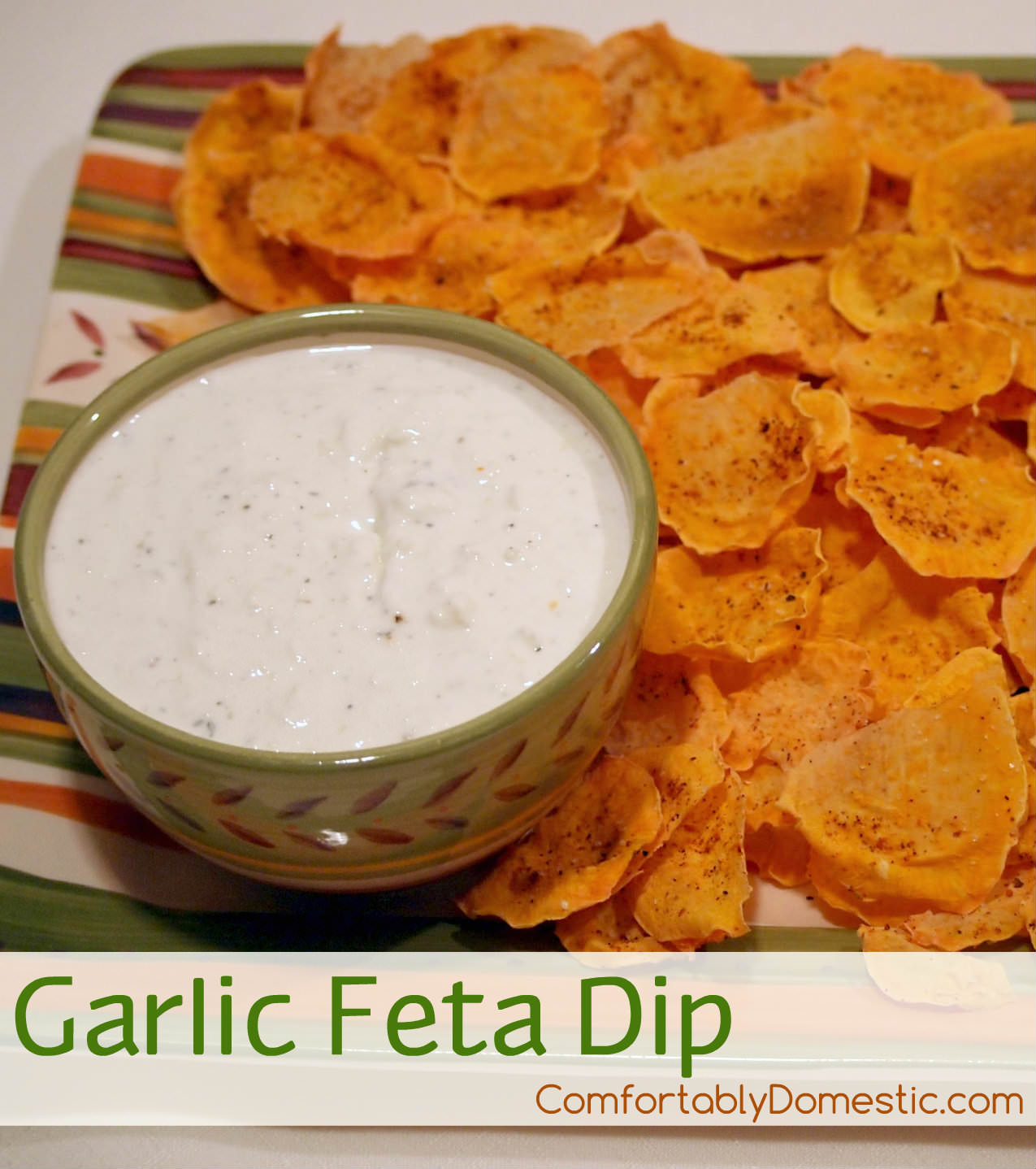 Garlic Feta Dip | ComfortablyDomestic.com is five minutes to fabulous for this delicious, light appetizer made with feta cheese, Greek yogurt, and plenty of garlic and herbs.