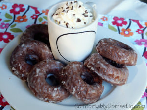 Baked Chocolate Sour Cream Doughnuts with Vanilla Bean Glaze