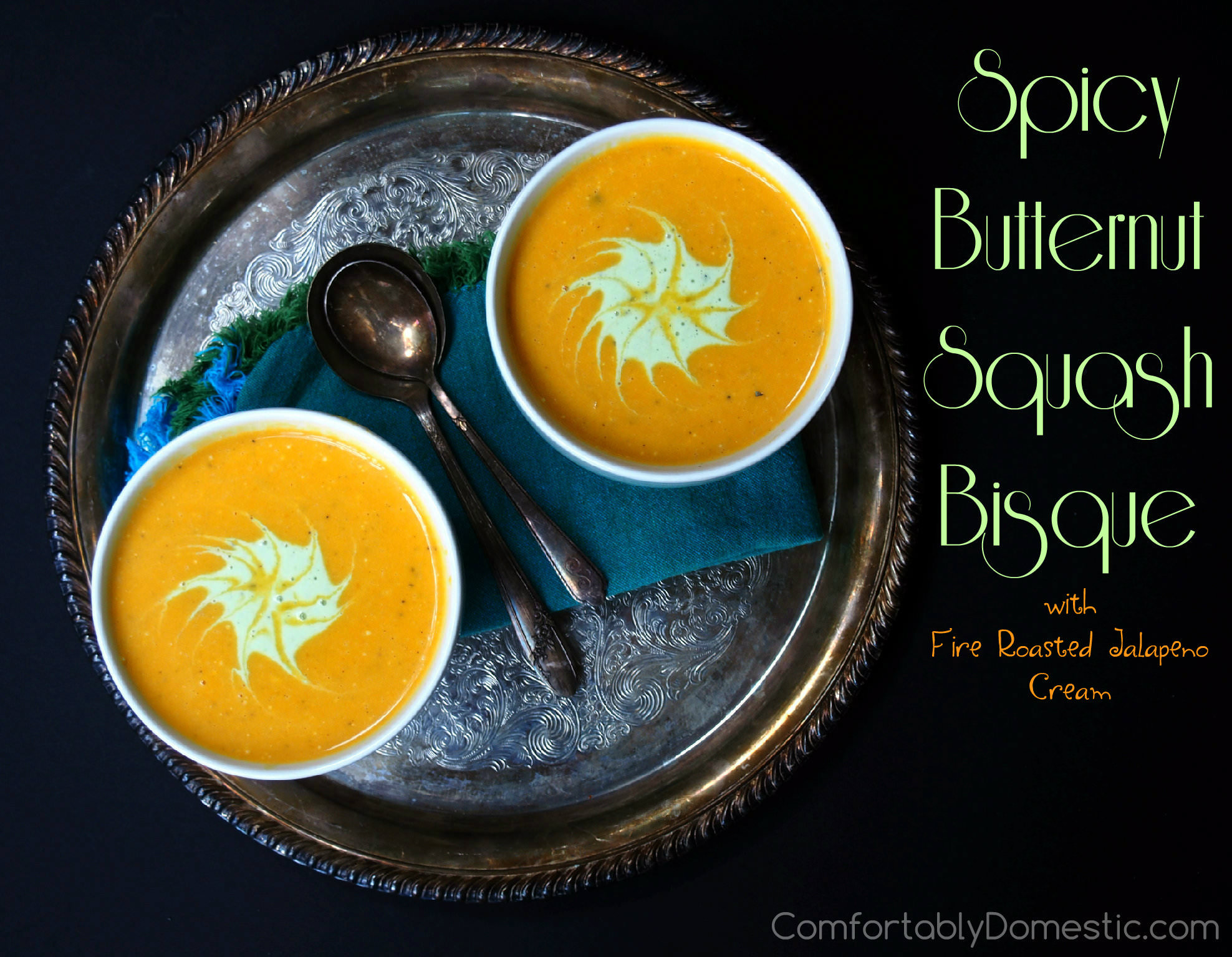 Spicy Butternut Squash Bisque | ComfortablyDomestic.com