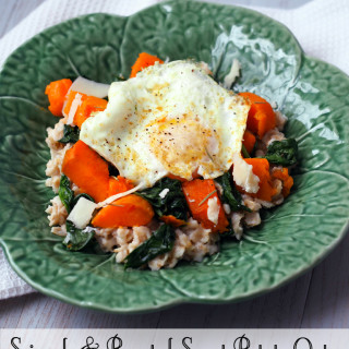 Spinach-and-Sweet-Potato-Oats | ComfortablyDomestic.com