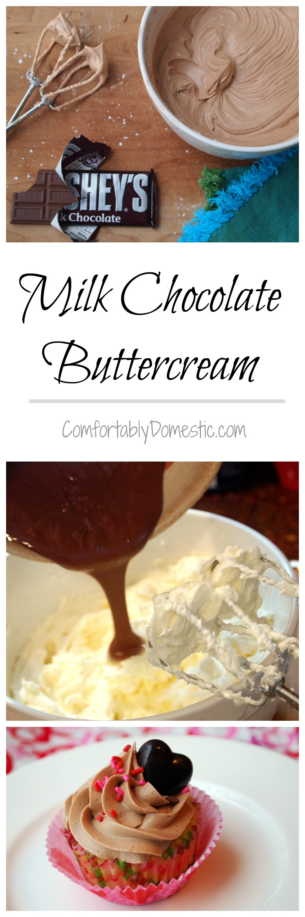 Milk Chocolate Buttercream Frosting Recipe - So good, you might want to eat it straight from the spoon! \\ Recipe on ComfortablyDomestic.com
