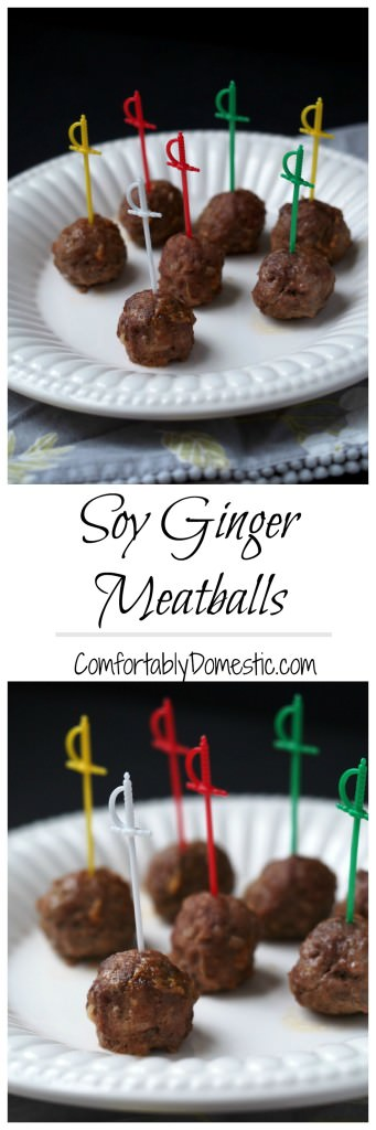 Soy ginger meatballs are the perfect appetizer! Delicious, tender meatballs, simmered in a sweet soy ginger sauce, with just a touch of heat. | ComfortablyDomestic.com