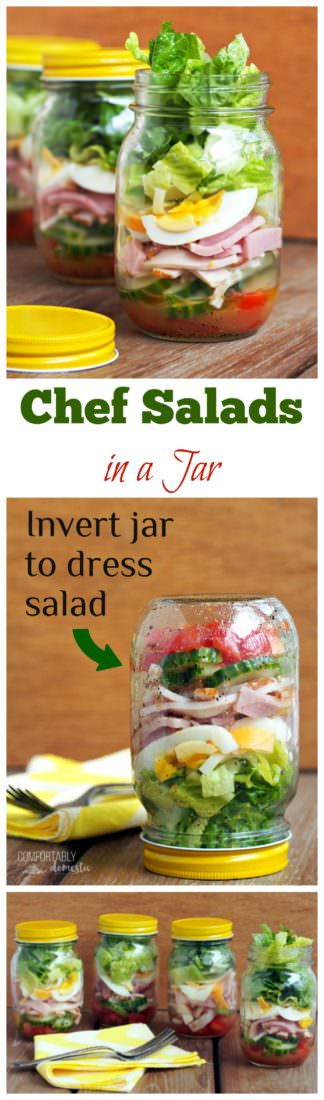 Chef Salad in a Jar - Crisp romaine lettuce, fresh vegetables, ham, turkey, egg, cheese, & a tasty parmesan vinaigrette dressing.