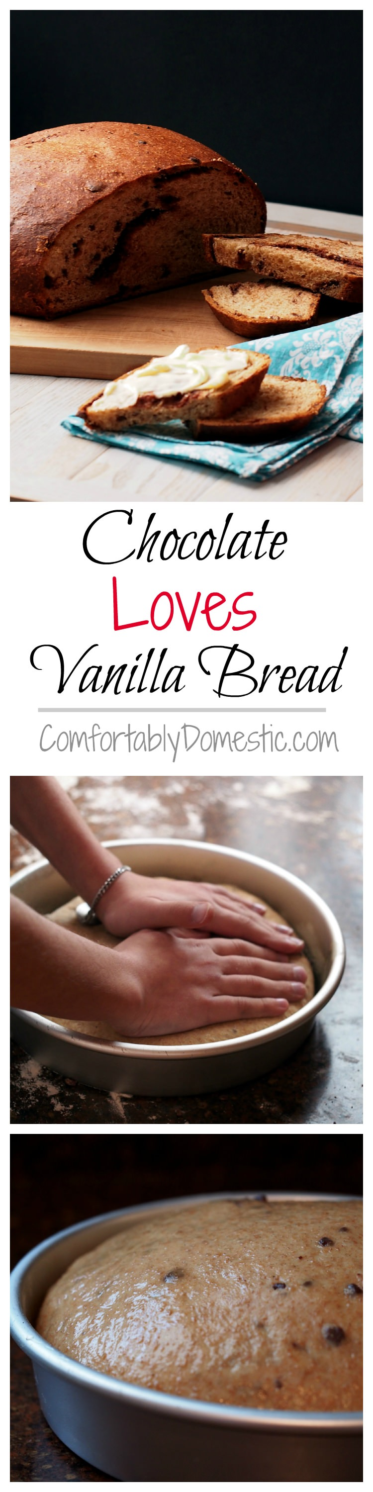 Chocolate Loves Vanilla Bread - Sweet, vanilla-infused whole grain sweet dough with a generous helping of chopped chocolate kneaded into tender loaves. | ComfortablyDomestic.com