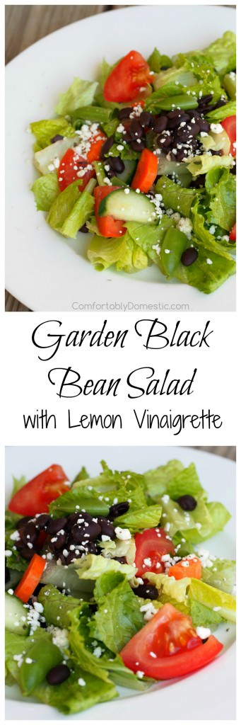 Black beans, crisp greens, fresh vegetables, and Cotija cheese, brightly dressed in a simple lemon vinaigrette. This is a delicious healthy salad recipe! | ComfortablyDomestic.com