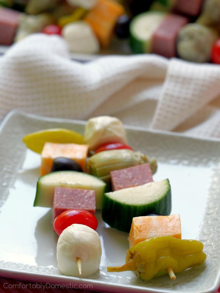Antipasto Salad Skewers | ComfortablyDomestic.com