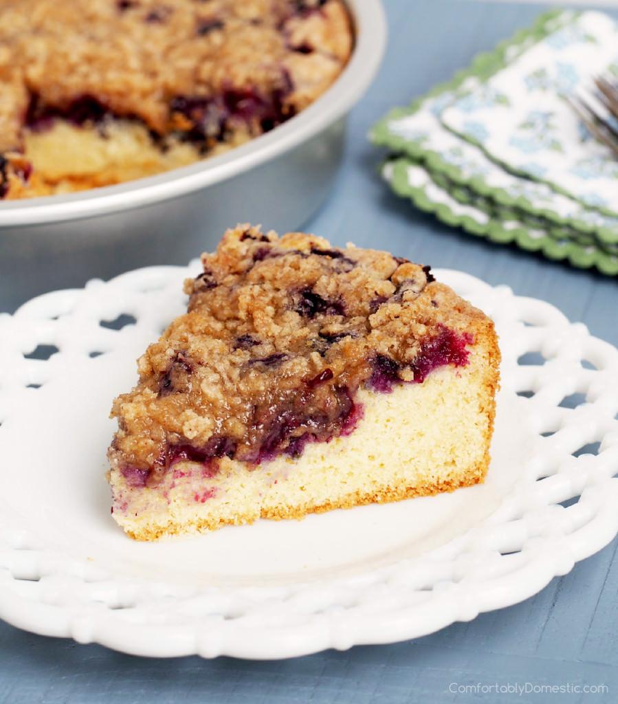 Gluten Free Blueberry Buckle Coffee Cake | ComfortablyDomestic.com