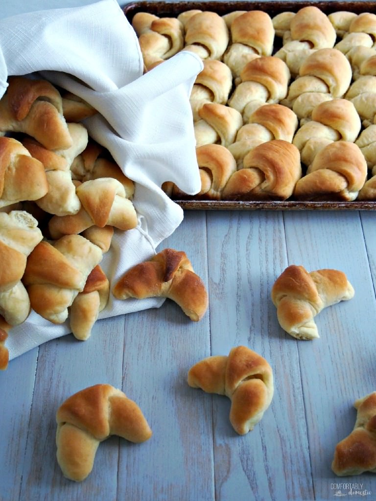 Crescent rolls made from scratch are soft, buttery, and just slightly sweet—so much better than the canned variety. Recipe is easily halved or doubled for holiday meals. | ComfortablyDomestic.com