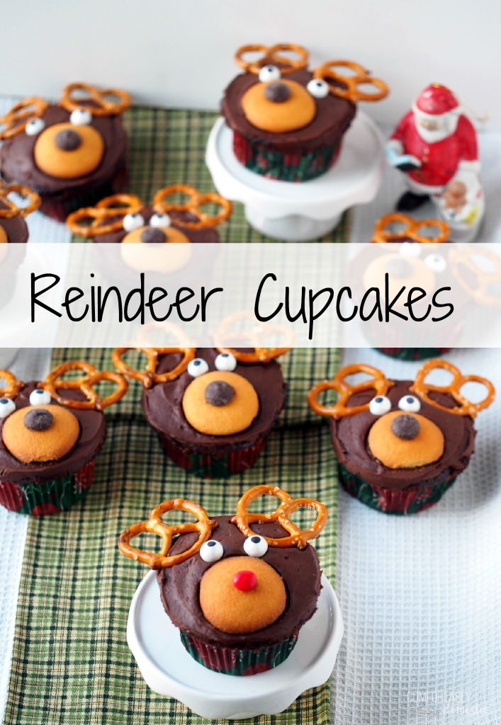 Reindeer Cupcakes - a fun, kid friendly, and easy holiday dessert idea. | ComfortablyDomestic.com