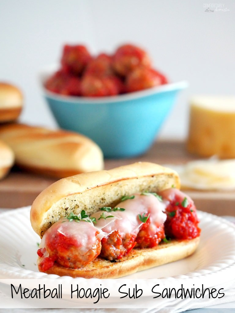 Meatball-Hoagie-Sub-Sandwiches-have-tender-saucy-meatballs-gooey-cheese-on-a-toasted-bun-for-a-budget-friendly-30-minute-meal. | ComfortablyDomestic.com