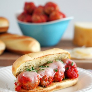 Meatball-Hoagie-Sub-Sandwiches-are-hearty-comforting-meatballs-in-sauce-topped-with-smoky-cheese-on-a-toasted-bun-ready-in-30-minutes. | ComfortablyDomestic.com