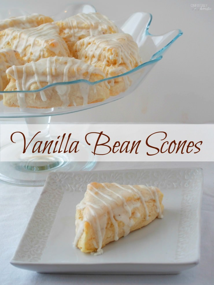 Vanilla-Bean-Scones-Starbucks-Copy-Cat-Recipe are a delightful breakfast or tea time treat infused with plenty of sweet vanilla flavor. | ComfortablyDomestic.com