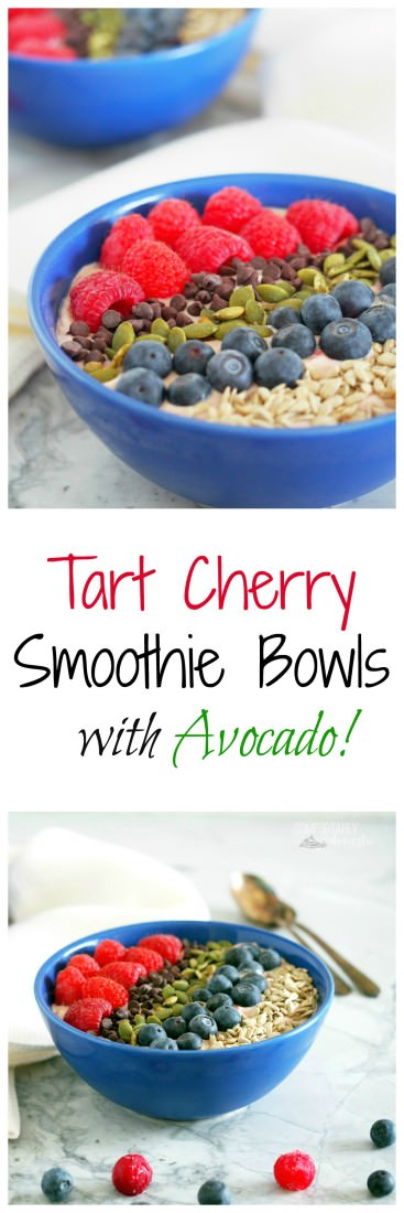 Tart-Cherry-and-Avocado-Smoothie-Bowls are extra thick smoothies full of filling protein, healthy fats and a balance of sweet and tart fruits, and topped with plenty of crunch for a complete meal.