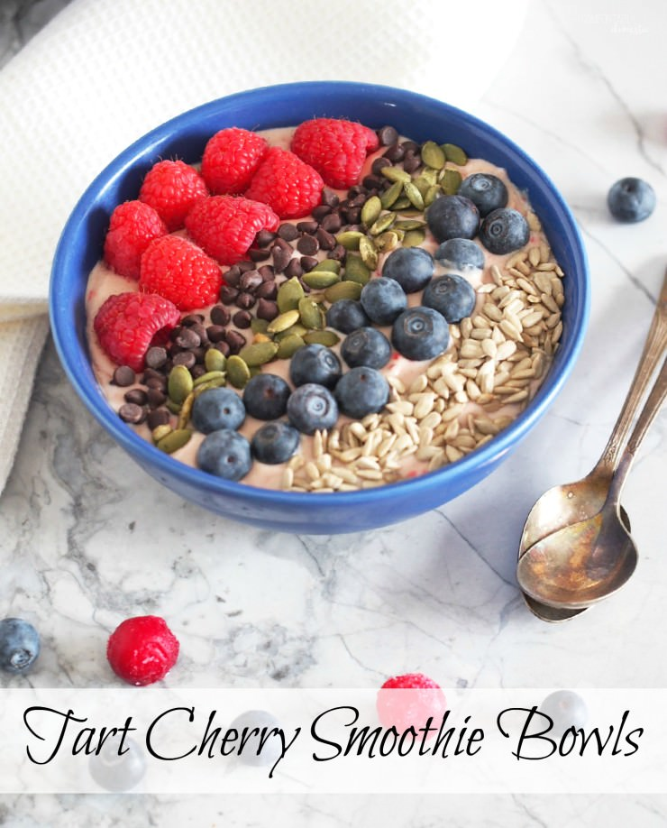 Tart-Cherry-Smoothie-Bowls are extra thick smoothies full of filling milk protein, healthy avocado fats and a balance of sweet and tart fruits, and topped with plenty of crunch for a complete meal.