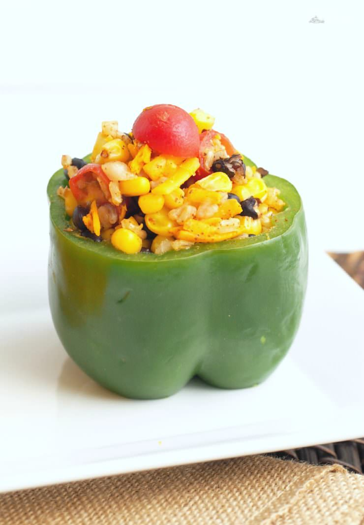 Vegetarian Stuffed Peppers - Comfortably Domestic