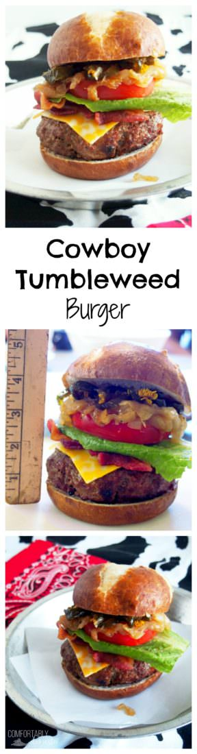"""Cowboy-Tumbleweed-Burger is a thick grilled patty of seasoned Certified Angus Beef and chorizo, topped """"cowboy style"""" with melted cheddar cheese, crisp bacon, sweet caramelized onions, tangy slices of pickled jalapeno peppers, and all of the fixings."""
