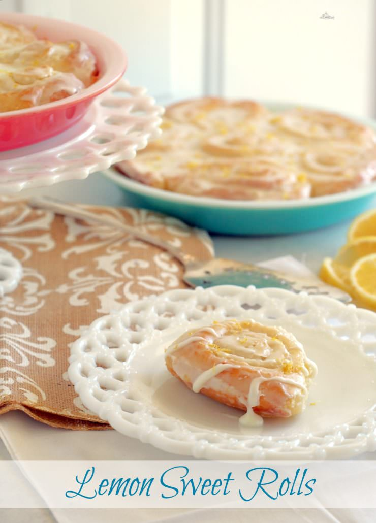 Lemon Sweet Rolls are sliced, soft sweet bread rolled into pinwheels with a buttery, lemon sugar filling and topped with a zesty lemon cream cheese icing.