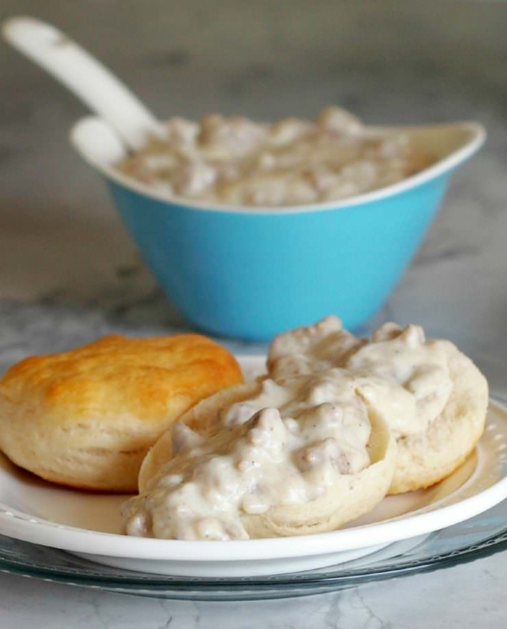 Light-Turkey-Sausage-Gravy is every bit as creamy and dreamy as the full fat variety but with nearly half of the fat and calories. The lightened up version of this Southern classic is still pure comfort food!