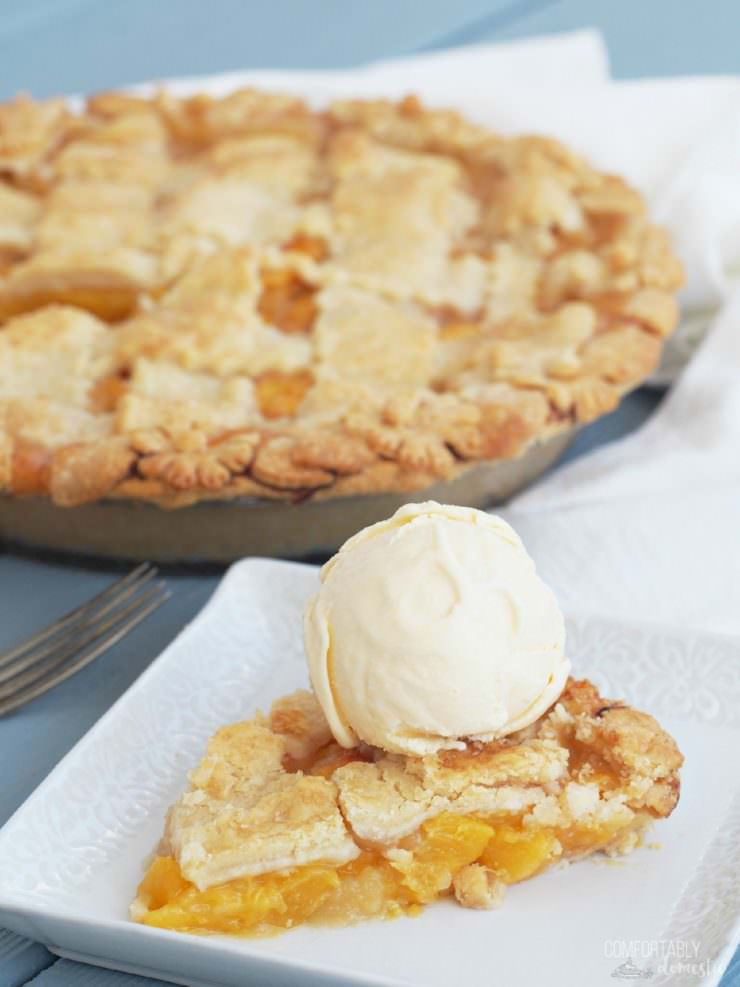 Red-Haven-Peach-Pie is made with fresh, ripe peaches tucked in a delicate all butter pie crust with a sprinkle of crunchy sugar on top for a classic peach pie to remember.