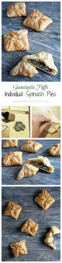 Spanakopita-Puffs-are-miniature-spinach-pies stuffed with a blend of tender spinach and plenty of herbed feta cheese, wrapped up in a buttery puff pastry shell.