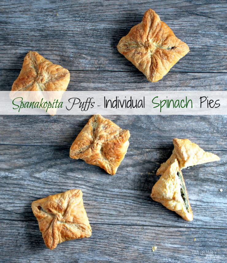 Spanakopita-Puffs-are-individual-spinach-pies stuffed with a blend of tender spinach and plenty of herbed feta cheese, wrapped up in a buttery puff pastry shell.