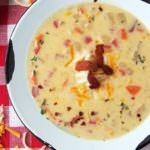 3-Cheese-Corn-Chowder is full of all the comforts of home with plenty of vegetables, crisp bacon, and three types of creamy cheeses in one flavorful soup.