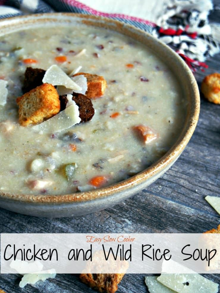 Slow-Cooker-Chicken-Wlid-Rice-Soup is a big ol' bowl of savory comfort on a brisk fall day. Studded with vegetables and chewy wild rice, this creamy soup will warm you from the inside out!