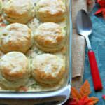 Turkey-and-Biscuit-Casserole is a delicious dish that makes great use of leftover turkey or chicken. The creamy casserole features an easy homemade sauce that is studded with vegetables and topped with golden, buttery biscuits.