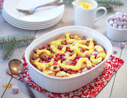 Cranberry Orange Bread Pudding with Orange Custard Sauce
