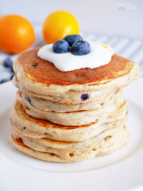Blueberry-Protein-Pancakes are a thick and fluffy pancakes filled with sweet blueberries and an extra boost of protein and omega 3 for a healthy, delicious breakfast that you can feel good about. This easy recipe comes together in 5 minutes in a blender, and includes a gluten free option!