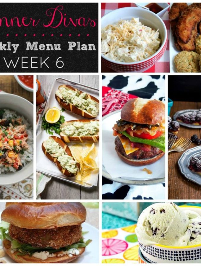 Weekly-Menu-Plan Week 6 features picnic comfort foods with stacked burgers, kickin' potato salad, savory burrito bowls, herbaceous shrimp rolls, and two seasonal desserts that are bound to make you smile.