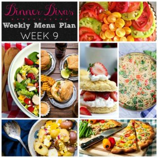 Weekly Menu Plan Week 9 is chock full of delicious with fancy pork burgers, one pot pasta, a fresh vegetarian tart, grilled chicken salad, an easy pizza, potato salad, and fresh strawberries in a favorite seasonal dessert.