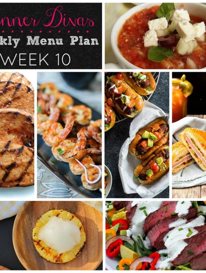 Weekly-Menu-Plan Week 10 is all about beating the heat by grilling All the Things! In addition to a fab steak salad and fancy-dancy hot dogs, we're serving up grilled pineapple, vegetables, and shrimp on the barbie!
