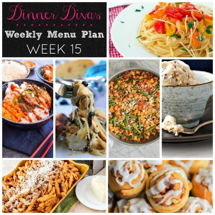 Weekly-Menu-Plan Week 15 focuses on delicious 30 Minute Meals that are ready in a flash to feed your family well with very little effort during the week