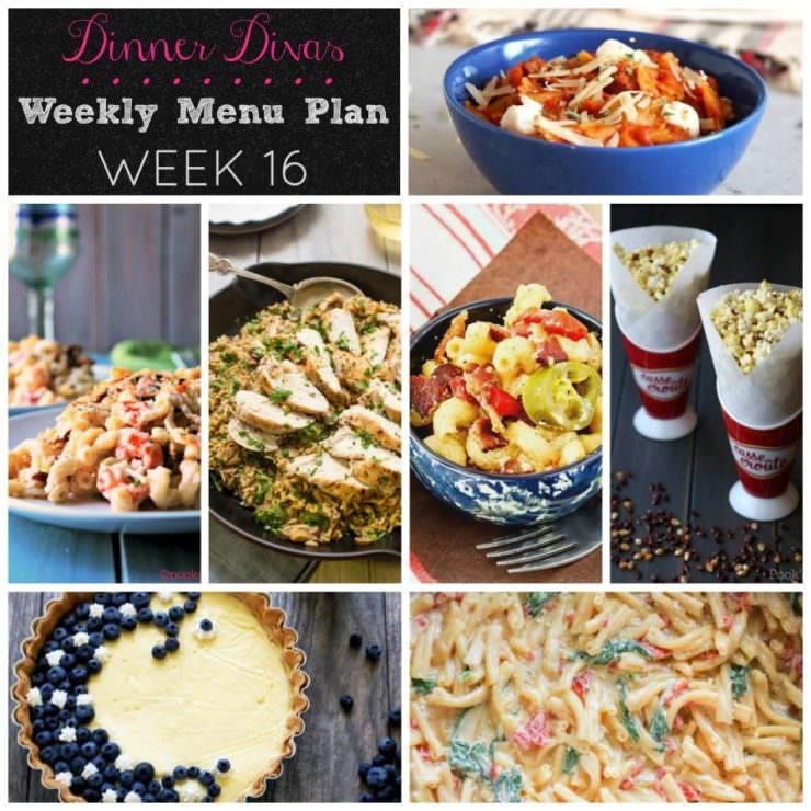 Weekly-Menu-Plan Week 16 is all about One Pot Wonders--delicious dinners made with fresh ingredients and few dishes to wash. Bring on the comfort and convenience!