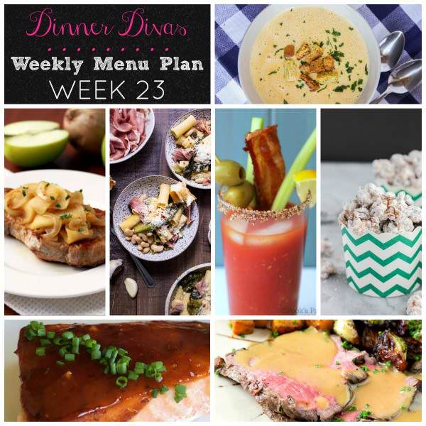 Weekly-Menu-Plan Week 23 is loaded with speedy 30 minute meals, easy slow cooker dinners, a whimsical dessert, and a cocktail to cap off the week. You won't want to miss these delicious nibbles!